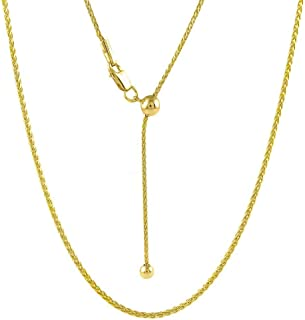 Sterling Silver 1.4MM Diamond Cut Adjustable Wheat Chain Necklace 24' - Adjustable Fox Tail Spiga Necklace in 4 Colors