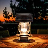 "Hanging Solar Lights Outdoor - 8.3"" Solar Powered Waterproof Retro Lanterns, Bright Landscape Lanterns Lamp, 30 Lumen, 1 Pack, Great Decor for Patio, Yard, Garden and Table (Warm White)"