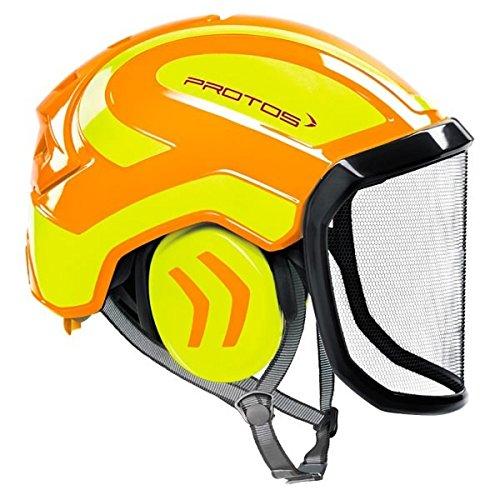 Protos sicherheitshelm integral arborist gehörschutz, ausstattung:feines visier, farbe:orange/gelb