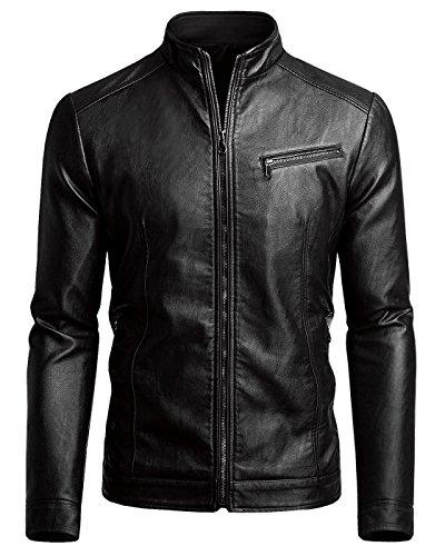 Men's Casual Faux Leather Jacket, Black, Medium