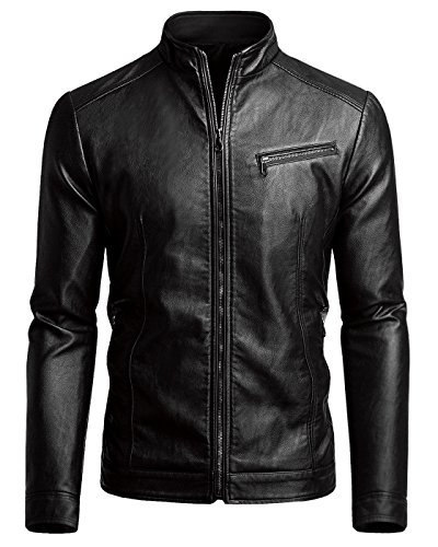 Round Neck Leather Jacket Men