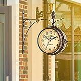 GJCrafts Reloj de Pared de Doble Cara Retro,Reloj de Pared Creativo CláSico Relojes de Estilo Europeo Doble,Reloj de Aspecto Antiguo Colgante de Pared DecoracióN Interior y Exterior