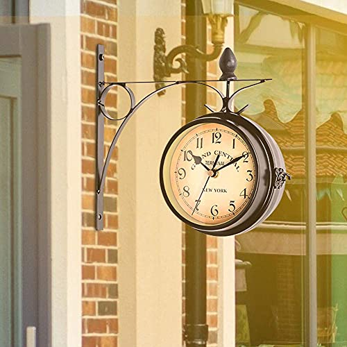 GJCrafts Doppelseitige Wanduhr Retro Outdoor Uhr Garten Wasserdicht, Doppelseitige Bahnhofsuhr im europäischen Stil für die Dekoration des Wohnzimmers im Schlafzimmer