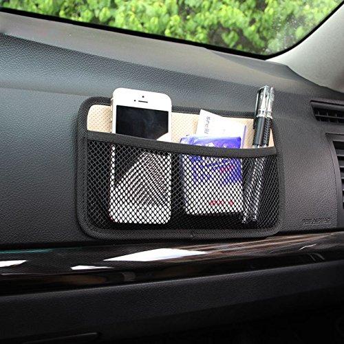 HomDSim Auto Auto Opslag Mesh Net String Bag Pouch Organizer Pocket Voor Plaats Telefoonhouder Ticket Sleutelpen Rook Kleine Kleine Kleine Kleine Stuff Beige