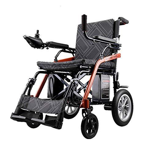 BSJZ Silla de Ruedas eléctrica Plegable Ligera Silla eléctrica compacta para Personas Mayores discapacitadas con Freno de estacionamiento Ancho del Asiento 46 cm has