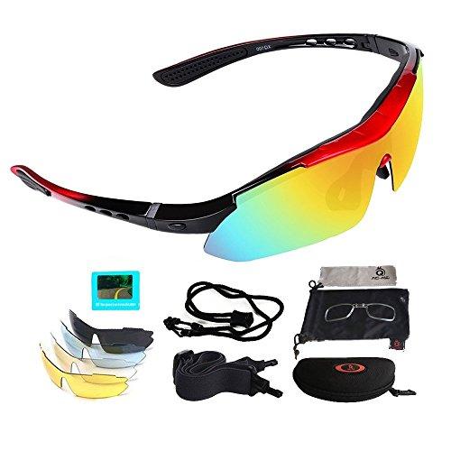 V VILISUN Fahrradbrille Sportbrille Sonnenbrille UV400 5 Wechselgläser inkl Schwarze Polarisierte Linse für Outdooraktivitäten wie Radfahren Klettern Autofahren Angeln Golf Unisex (Schwarz Rot)