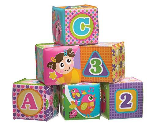 Playgro Cubos Suaves para el Baño, Rosa, 6 Piezas, Con Núm