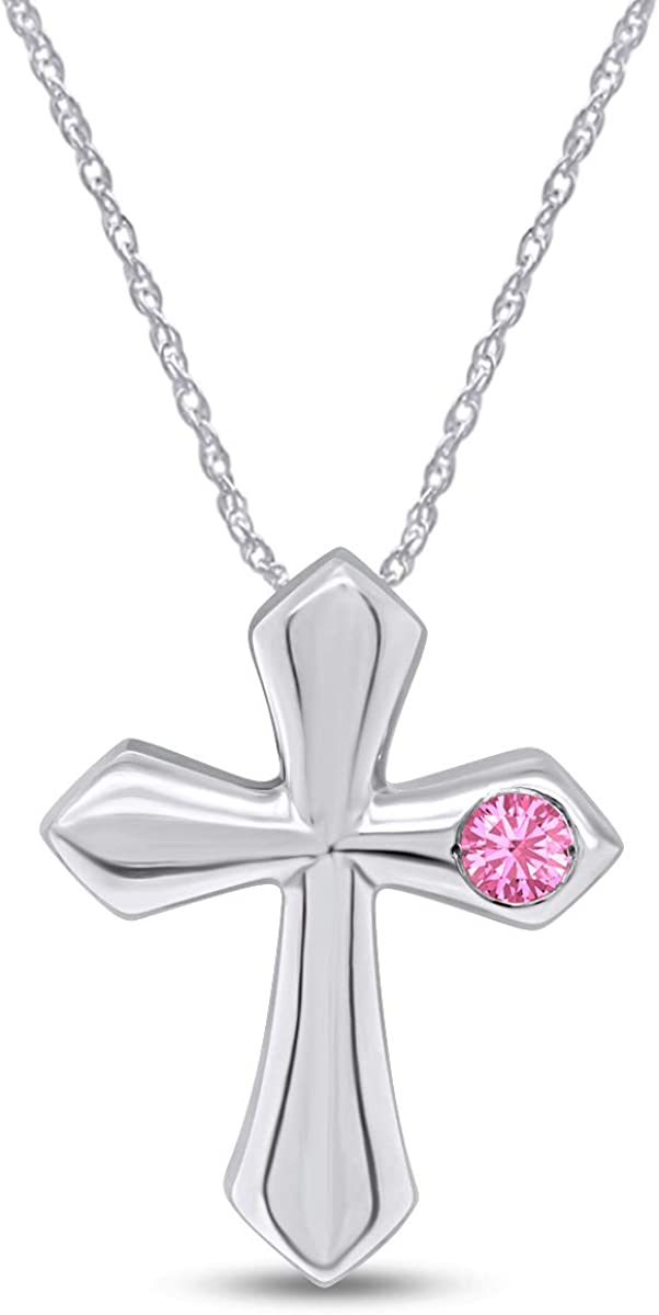 AFFY Round Low price Dealing full price reduction Simulated Birthstone Cross Necklace Wh 14k Pendant in