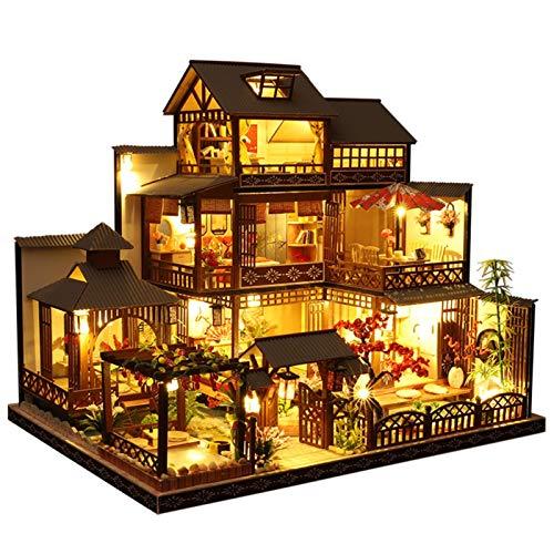 Casa de muñecas en Miniatura con Muebles, Cabina de Madera en Miniatura de Bricolaje Casa Hecha a Mano con Movimiento Musical para niñas Cumpleaños de Navidad Regalo de San Valentín