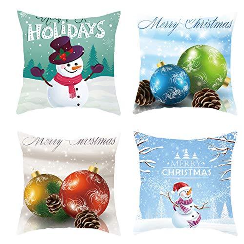 Longra 4er Set Baumwolle Leinen Kissenbezüge Weihnachten Dekokissen Sofakissen Kissenbezug Kissenhüllen Wohnzimmer Kissen Weihnachtskissen Bezüge Für Sofa Auto Deko