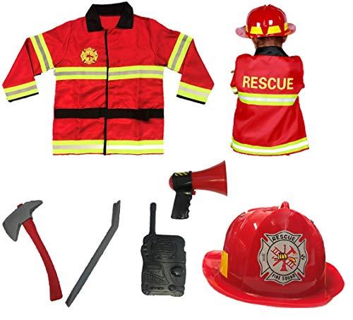 Matissa Juego de rol y accesorios para nios de bombero (bombero) para nios y nias (juego completo (2), grande (5-8 aos)