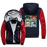 NIEWEI-YI Men's Casual Hooded Sweatshirts,My Hero Academia Chaqueta con Capucha y Cremallera para Hombre, Forro Polar,4XL