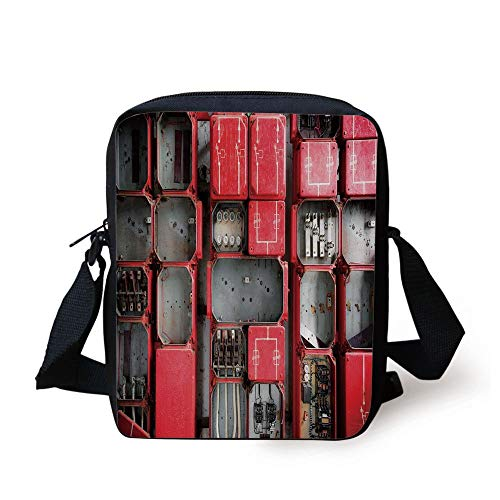 Industrial Decor,Fuse Cabinet Close Up Industrial Type Junction Cables Box Electricity Decorative,Red White Grey Print Kids Crossbody Messenger Bag Purse