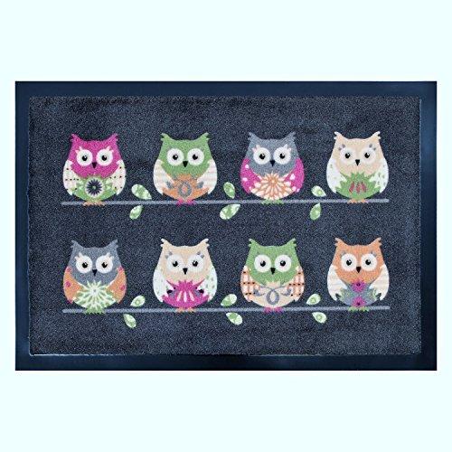 Fußmatte Fußabtreter Schmutzmatte Motiv Design Eule OWL (grau)