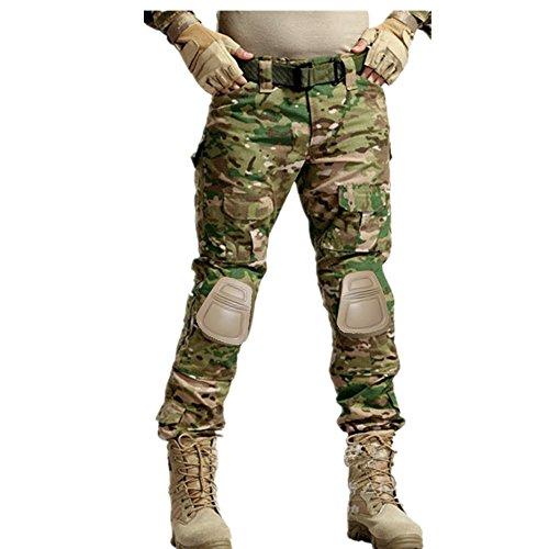 haoYK Pantalones tácticos Militares Paintball BDU Pantalones Airsoft Camo Pantalones Multi-Bolsillo con Rodilleras (L (34