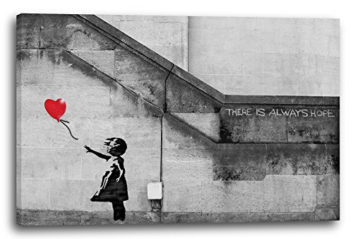 Leinwand (120x80cm): Banksy - Balloon Girl Mädchen mit Luftballon always hope S