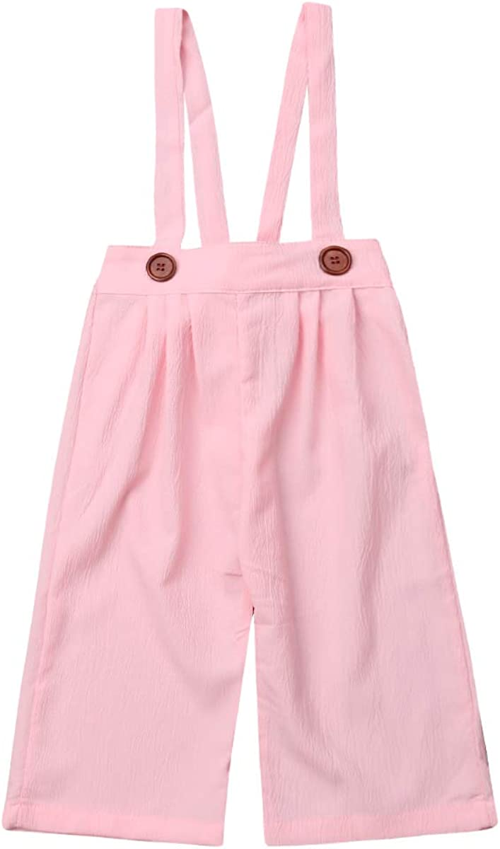 Max 71% OFF Toddler Girl Suspenders Long Pants Button 1 year warranty Leg Color Loose Plain