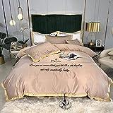 Conjunto de 4 peças de capa de edredon para cama, roupa de cama de seda lavada frente e verso, colcha e colcha bordada sólida, fechamento com zíper, roupa de cama simples, 200 * 230 cm, azul cinza 3