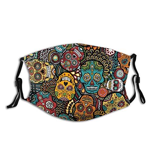Mexican Sugar Skulls Face Mask Fashion Dustproof Breathable Reusable Scarf Adjustable Washable Protective Bandana