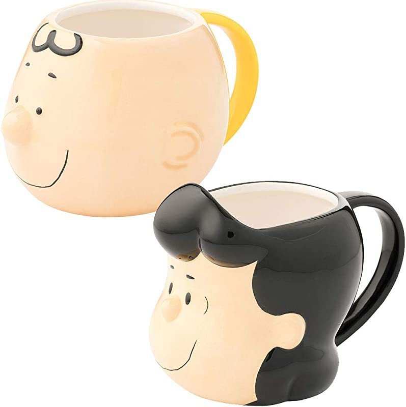 Set PEANUTS Charlie Brown And Lucy Ceramic Coffee Cup Mugs Hand Painted