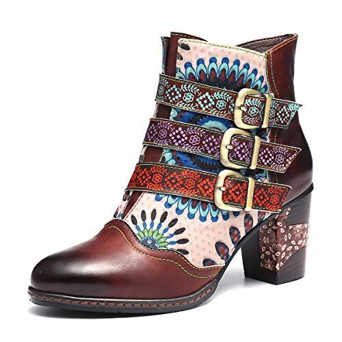 Gracosy Bottines Cuir Talons Femmes, Bottes en Cuir Chaussures de Ville Hiver à Talons Hauts Confortable Boots Montantes avec Semelles Conforts Lanière Boucle Originale, Multicolore, 40 EU Large