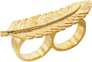 Erica Anenberg Feather Ring for Women - Statement Ring - Leaf Ring Gold - Two Finger Ring