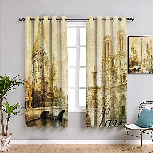 Paris Decor Collection - Cortinas opacas impresas para dormitorio, 213 cm de largo, diseño antiguo, torre Eiffel de Francia, monumentos vintage, imagen insonorizada, tela de sombra de 84 x 84 pulgadas