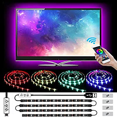 LED Strip Lights, L8star Color Changing Rope Lights 5050 Flexible RGB Light Strips with Bluetooth Controller Sync to Music Apply for TV Bar Counter Cabinet Party Christmas Decoration