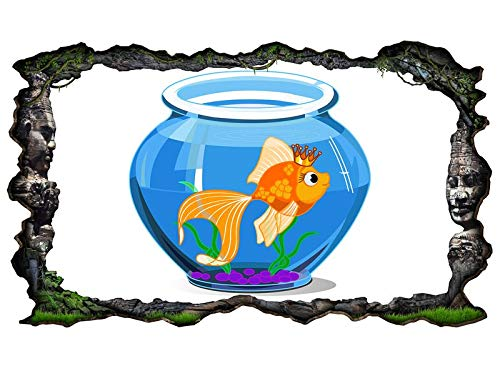 3D Muurtattoo kinderkamer cartoon vis goudvis aquarium water blauw muur sticker muurdoorbraak sticker zelfklevend muurschildering muursticker woonkamer 11P057 ca. 140cmx82cm