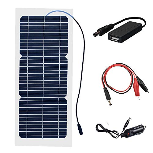 XINPUGUANG 10W Flexible Solar Panel 18V Monocrystalline Photovoltaic PV Module with DC Alligator Clip Cable Compatibility with 18V and Below Devices(18V)