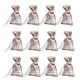 Chytaii - 30 bolsas para peladillas, tela de yute con lazo y encaje, bolsa para joyas, caramelos, chocolate, regalo para invitados, decoración de bodas, bautizos, fiestas, 16 x 9 cm