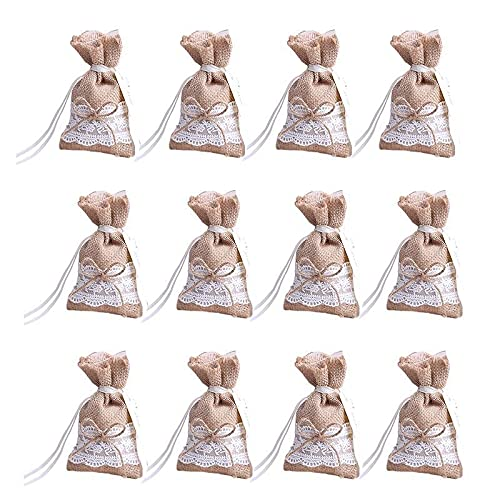 Chytaii - 30 bolsas para peladillas, tela de yute con lazo y...
