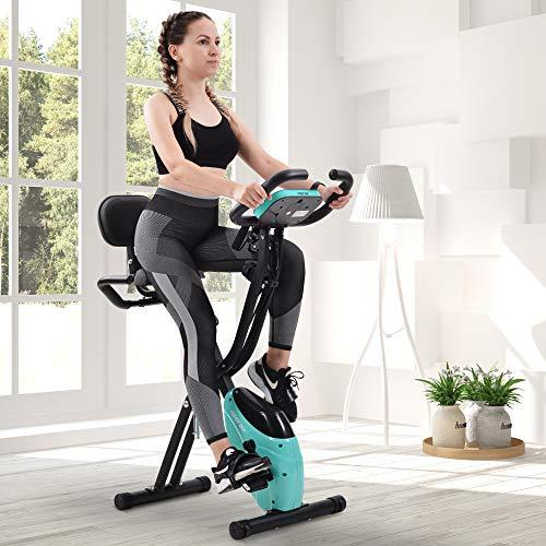 Belissy X Bike, Cardio Hometrainer, Fitness Bike, Bicicleta estática con computadora de tránsito y Cycling Bike, 10 niveles de resistencia magnética, plegable, bicicleta de fitness (azul)