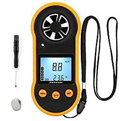 Pocket Anemometer Digital Wind Speed Meter Gauge with Backlight, Air Flow Velocity Measurement Thermometer Wind Meter Detector for Windsurfing Sailing Fishing Kite Flying Hunting Shooting