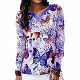 ZFQQ Camiseta de Manga Larga con Cuello en V Multicolor y Mariposa Suelta para Mujer de otoño e Invierno