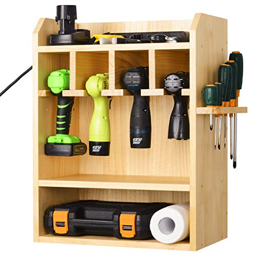 Power Tool Organizer Drills Charging Station Cordless Drill Organizer Wall Impact Driver Storage Holder with Screwdriver Rack (Need Assemble)