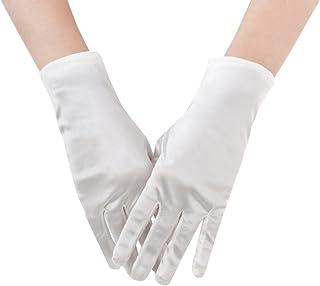 JISEN Women 20s Formal Bridal Satin Banquet Party Wedding Opera Colorful Gloves