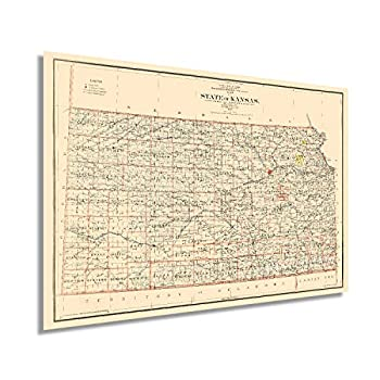 HISTORIX Vintage 1898 Kansas State Map - 24x36 Inch Vintage Map of Kansas Wall Art Decor - Old Kansas Map Poster Showing County Seats Land Offices Indian Reservations and Railroads  2 Sizes