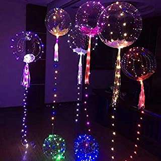 Fan-Ling Reusable Luminous Led Balloon,Transparent Round Bubble Decoration Great for Christmas Party, House Decorations,Amazing Party Wedding Decoration(A)