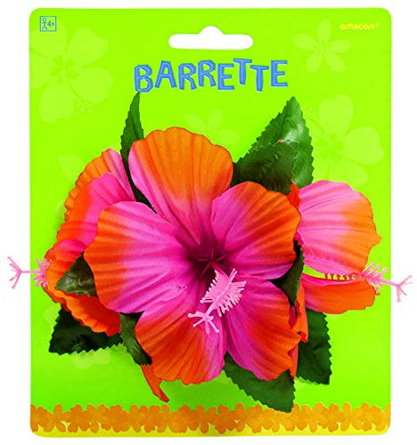 amscan 395348 Pink Hibiscus Pretty Barrette, 4'