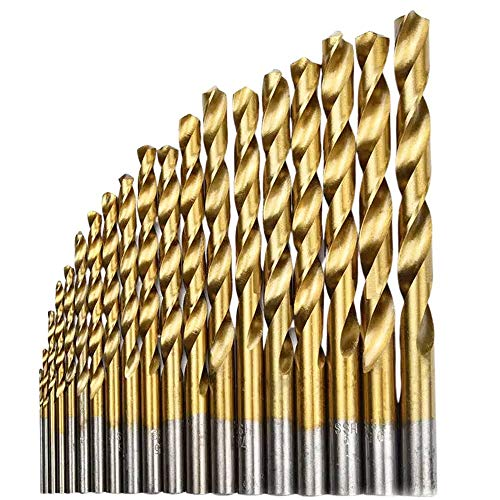 Hymnorq 1.0 to 10mm Metric Jobber Twist Drill Bits Set of 19pcs Titanium Coated HSS 4241, Straight Shank for General Purpose in Wood Plastic and Soft Metal Sheet