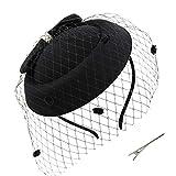 Umeepar Bowknot Pillbox tocado sombrero diadema para mujer Kentucky Derby té fiesta boda sombrero con velo clip, Negro, Talla única