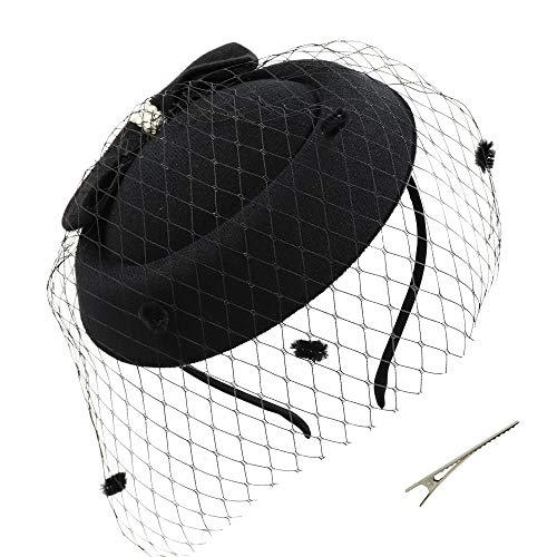 Umeepar Damen Bowknot Pillbox Fascinator Hut Hochzeit Tea Party Hüte mit Schleier Stirnband Clip (Schwarz)