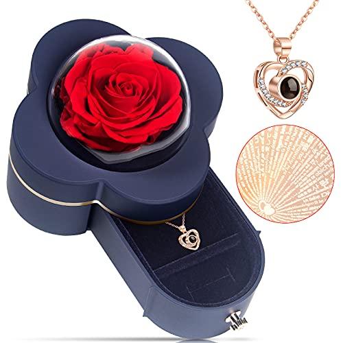Rosa Eterna Regalos para Mujeres Regalos para Su Novia Esposa Mamá, Rosa Real con Amor Collar Caja De Rosa Real para El DíA De San ValentíN Aniversario del DíA De La Madre Boda Regalos De CumpleañOs