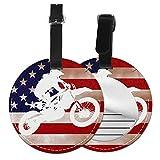 Etichette per Bagagli, Viaggio Bagagli Tag In Pelle Pu Con Copertina Posteriore per La Borsa Da Viaggio, Bandiera americana di motocross della bici della sporcizia