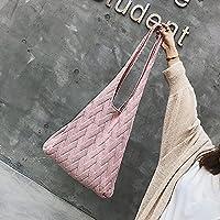 秋のレディースファッションストロー織りバッグ レディース絶妙なハンドバッグラージレディースホリデーニットニットショルダーバッグ-ピンク