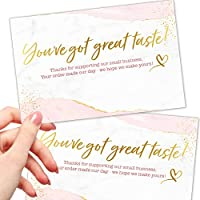 50 Large 4x6 Thank You for Your Order Cards - Faux Gold and Pink Thanks for Supporting Small Business Packaging Inserts...