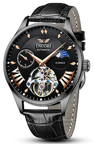 UNUORS Men's Watches Mechanical Skeleton Automatic Self-Winding Waterproof Watch for Men, Classic Casual Fashion Black Leather Wrist Watch with Dual-time Dial, Moon Phrase, Luminous Hands