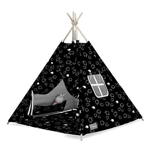 Elfique - Tenda da gioco per bambini Smart con coperta nera con pecore bianche
