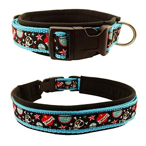Eve Couture Hundehalsband Halsband Hund Skulls in Space Rockabilly Rock´n Roll verstellbar Totenkopf Skull blau aquamarin schwarz bunt 30mm (S (ca. 30-36cm))
